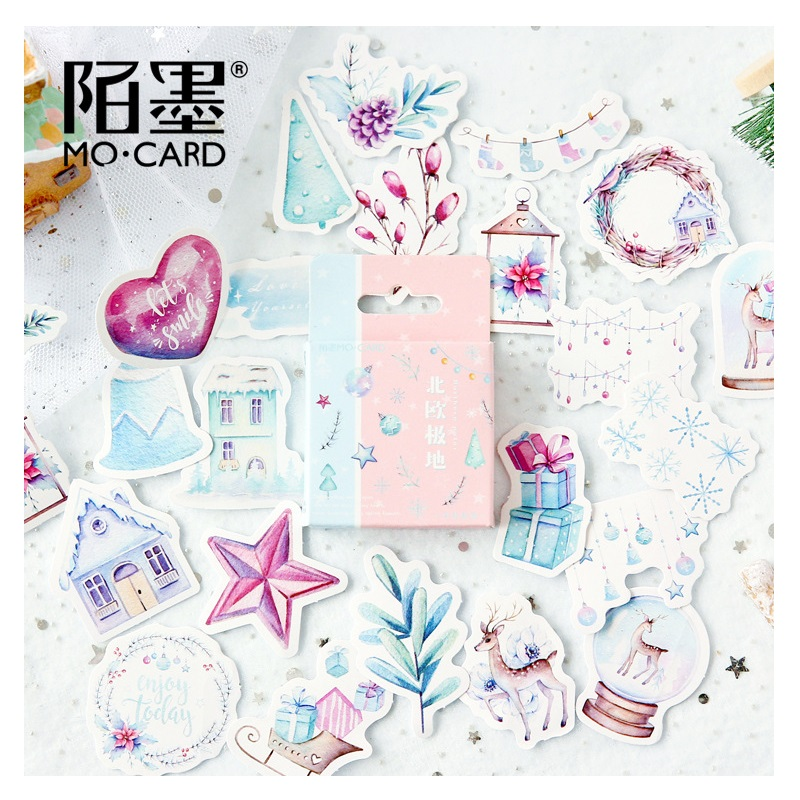 46 Pcs/set Novely Nordic Polar Series Adhesive Stickers Diy Diary Scrapbooking Sticker Christmas Decoration Office & School Supplies