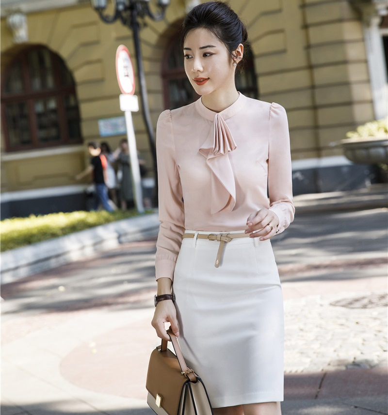 Two Pieces Sets Formal Business Suits With Tops And Skirt For Women Blouses Shirts Uniform Styles Office Ladies Work Wear Sets
