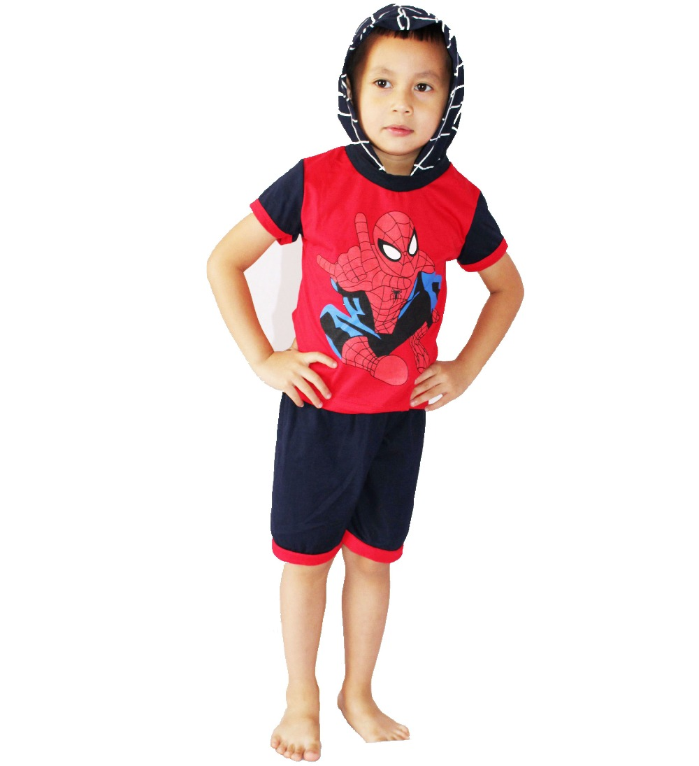 Red short sleeves cotton spider-man Baby clothes 2 suit clothing Role-playing Boy spider-man leisure wear size:1-5 years