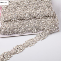 1 YARDS Beaded Ornaments Lace Crystal Material Decorative Rhinestone Trimming For Wedding Clothing Sash Decorative DIY