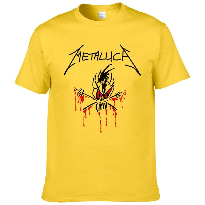 2017 Fashion Metallica   T     Shirt   Rock Band   T  -  shirt   Summer Short Sleeve Cotton Rock Pop Tees Men Tops #199