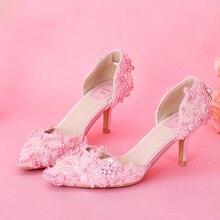 9885e55a875b41 2018 populaire doux femmes chaussures de mariée élégant rose dentelle Proms  chaussures de mariage chaussures de soirée femmes po.