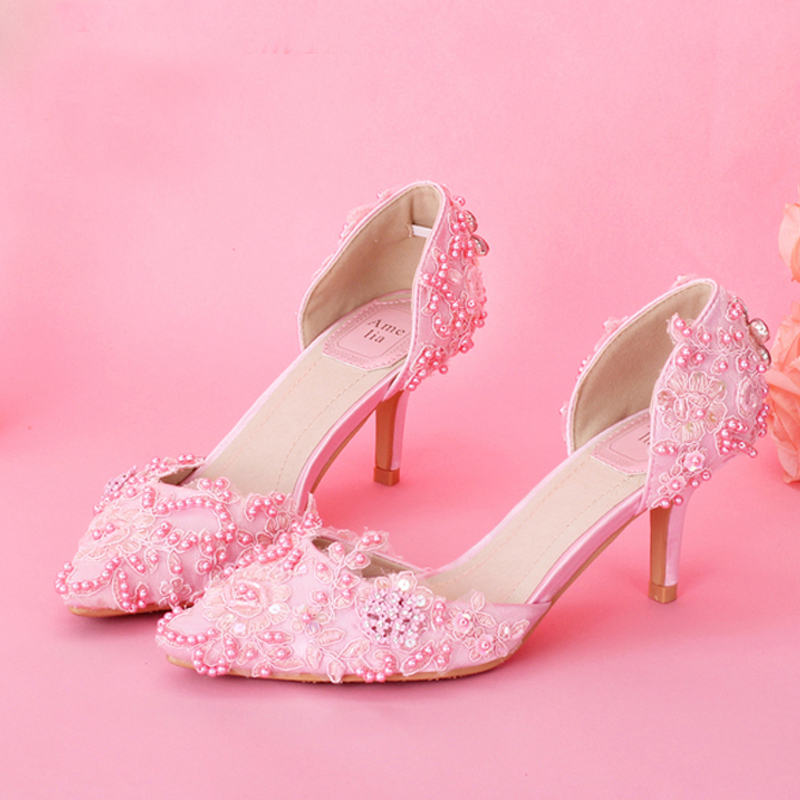 2018 Popular Sweet Women Bridal Shoes Elegant Pink Lace Proms Wedding Shoes Evening Shoes Women Pumps Valentine Prom Party Shoes women wedding shoes flat heel round toes plus size bride shoes lady female sweet lace pearls proms dress evening party shoes