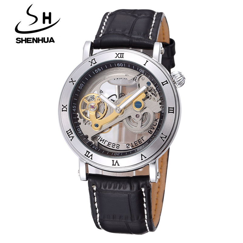 Luxury Brand SHENHUA Steampunk Transparent Skeleton Crystal Flywheel Automatic Genuine Leather Strap Dress Mens Mechanical Watch luxury brand shenhua steampunk transparent skeleton crystal flywheel automatic genuine leather strap dress mens mechanical watch