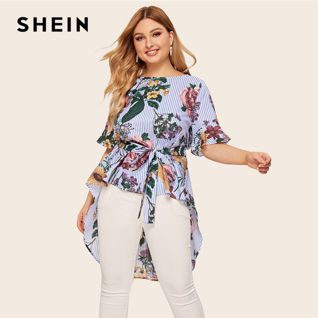 SHEIN Plus Size Multicolor High Low Floral And Striped Top Blouse With Belt 2019 Women Summer Boho Boat Neck Blouses Shirt