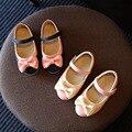 Детская вечеринка каблуки 2017 новая мода лук розовый кожа водонепроницаемый комфортно мягкое дно дети девушки свадьба обуви shoes школы