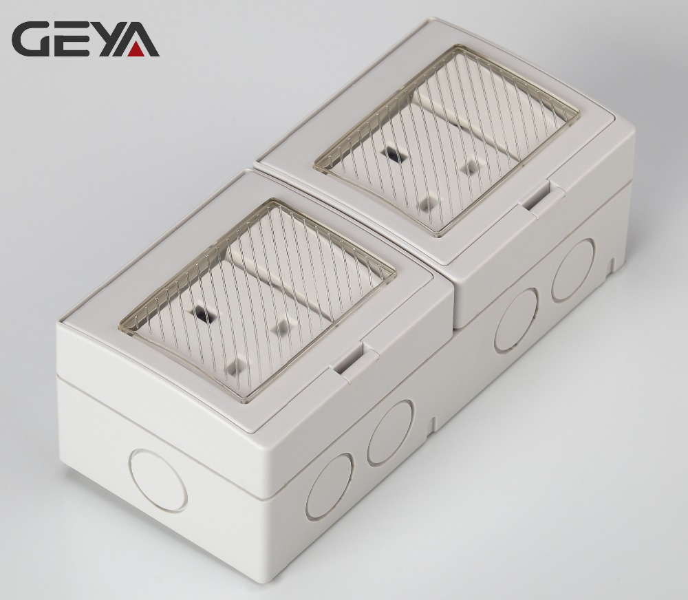 GEYA British Type Waterproof 2 Gang Switch 2 Gang Socket or 2 Gang 2 Way Bathroom Home or Industrial Use