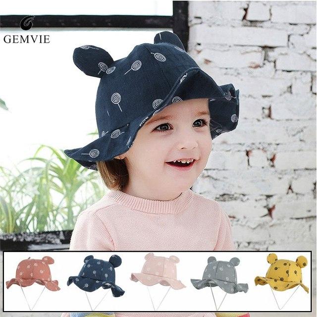 d82c59468c2 Kids Summer Hats Cartoon Bucket Hat Boys Girls Cute Ear Soft Wide Brim  Sunhat Beach Fisherman Hat