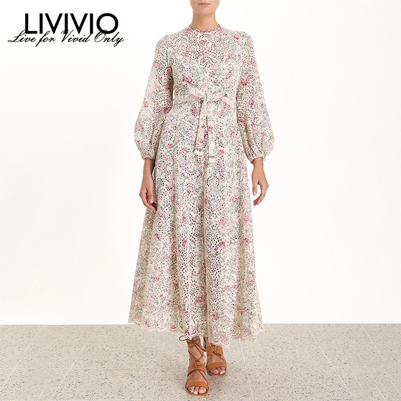 LIVIVIO Vintage Print Dress For Women O Neck Lantern Sleeve High Waist Hollow Out Bandage