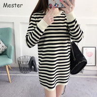 Preppy Style Black And White Striped Long Sweater Women Crewneck Long Sleeve Mini Sweater Dress Casual