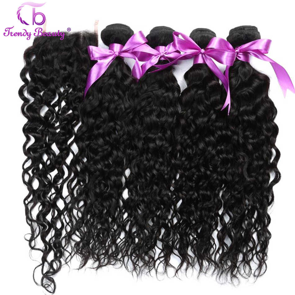 Peruvian water wave 4 bundles with closure middle/free/three part natural color 8-28 inches Trendy Beauty 5 pcs/lot Non-remy