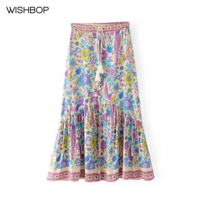WISHBOP 2017 NEW BOHO STYLE Printing Pleated Midi Skirt Stretchable Waist  Drawstring belt with tassels button up Ruffles hem dc21776292ec