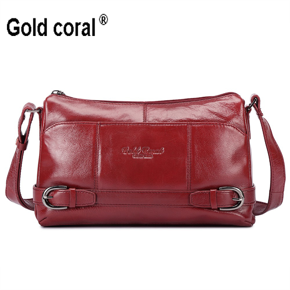 GOLD CORAL Genuine Leather Women Messenger Bag Cow Leather Small Crossbody Bag Women Fashion Shoulder Bags Designer Handbag 3018 threepeas patchwork shoulder bag cow leather handbag women genuine leather messenger bag crossbody