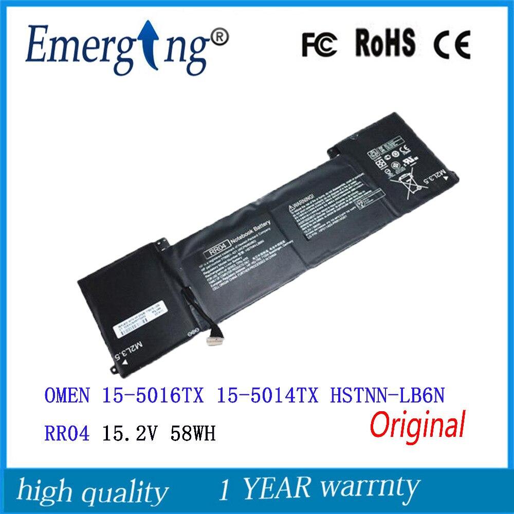 15.2V 58Wh New Original Laptop Battery for HP OMEN 15-5016TX 15-5014TX HSTNN-LB6N RR04 15 2v 58wh rr04 notebook battery for hp omen 15 15 5014tx tpn w111 778951 421 4icp6 60 80 hstnn lb6n
