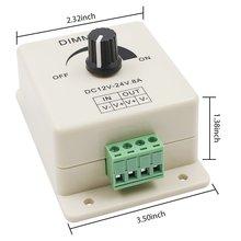 Светодиодный диммер 12-24 В 8A Регулируемая яркость лампы полосы драйвер Одноцветный светильник контроллер питания