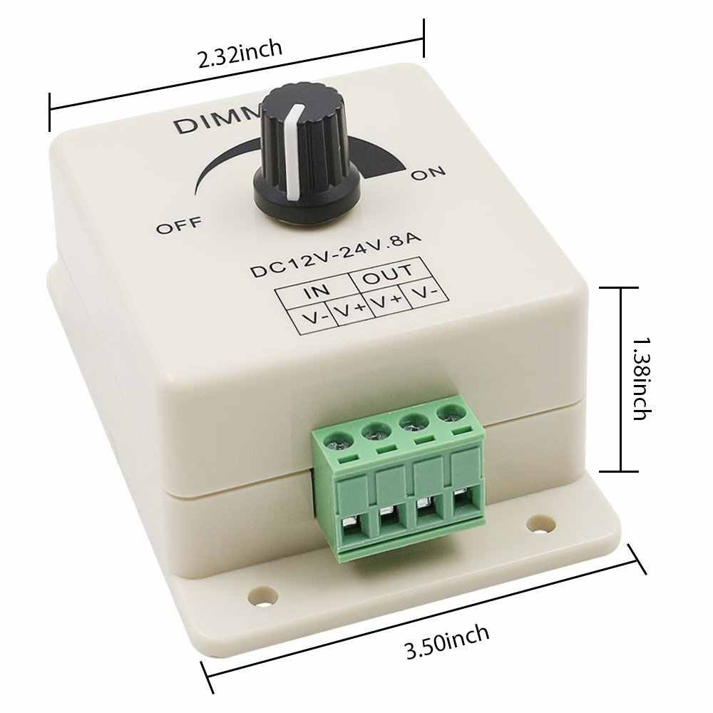 LED Dimmer Switch 12-24V 8A Adjustable Brightness Lamp Strip Driver Single Color Light Power Supply Controller