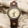 Marca de Fábrica superior de Moda de Las Mujeres de Womage Reloj Antiguo de Bronce Caso Torre de Roma Dial Banda de Cuero de Cuarzo Relojes de Pulsera