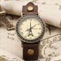 Top Brand Womage Women's Fashion Antique Clock Bronze Case Rome Tower Dial Leather Band Quartz Wrist Watches