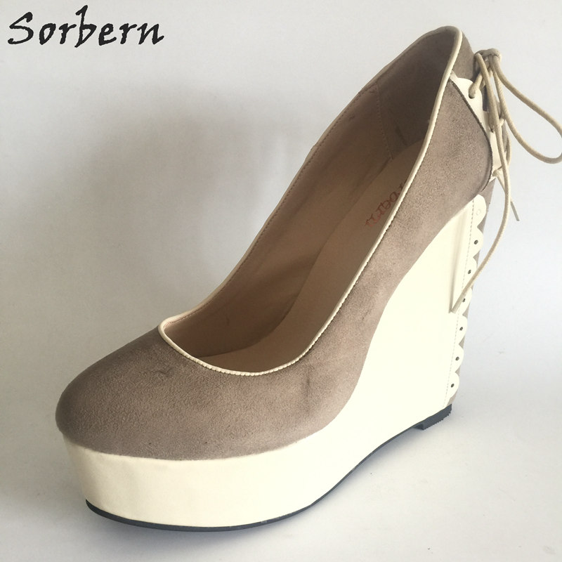 Sorbern Casual Style Wedge Women High Heels Platform Shoes Women Winter Pumps Slip-on Custom Colors 33-46 Plus Size nayiduyun women casual shoes low top platform wedge high heels boots round toe slip on pumps punk chic shoes black white sneaker