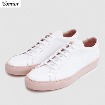 Yomior Handmade Luxury Brand Men Shoes British Fashion Casual Shoes Genuine Leather High Quality White Shoes Men's Flats Loafers 8 different style fashion baptism pure white shoes for 0 2 years old riband solid baby girls shoes handmade high quality 2018