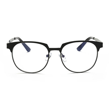Retro square metal frame against blue glasses No strength of neutral optical glasses