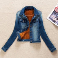 2018 Autumn Denim Jackets Plus Velvet Warm Women Cashmere Cotton Coat Girl Fashion Denim Jackets plus size 3XL