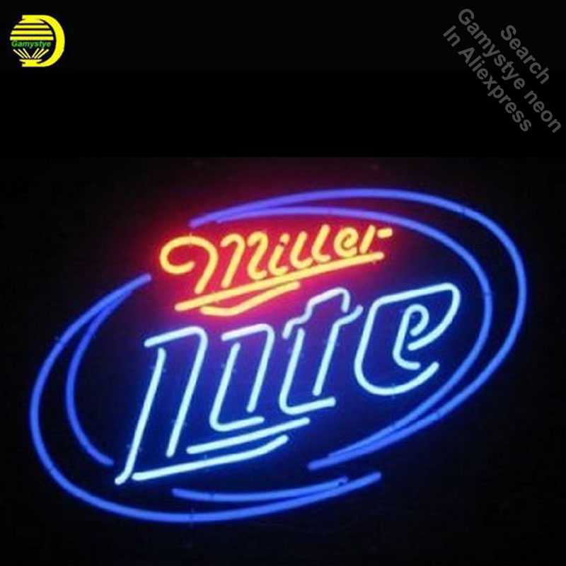 Miller Lite Neon Sign neon bulb Sign neon lights for Beer Pub Sign glass Tube Handcraft Iconic Display light up signs signage