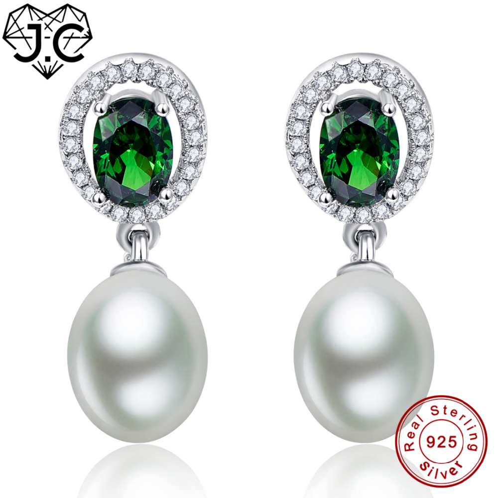 J.C for Women/Girl Dating Luxurious Emerald & White Topaz Oval Cut Genuine Solid 925 Sterling Silver Earrings Fine Jewelry-in Earrings from Jewelry & Accessories    1