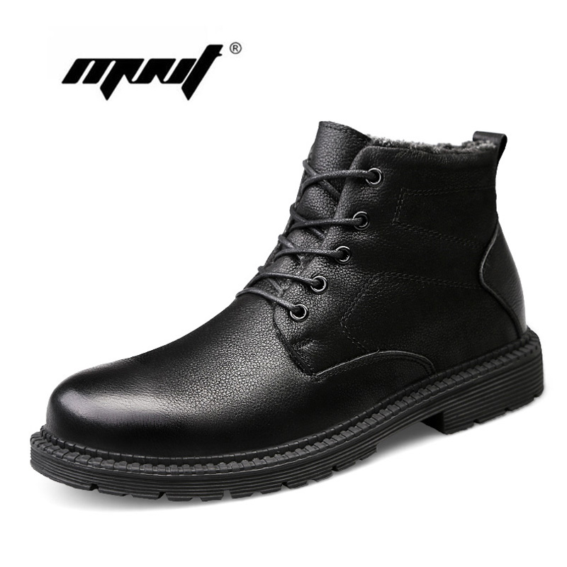 Plus Size Men Boots Quality Natual Leather Ankle Boots Plush Fur Snow Boots Outdoor Autumn And Winter Boots Shoes Men цена