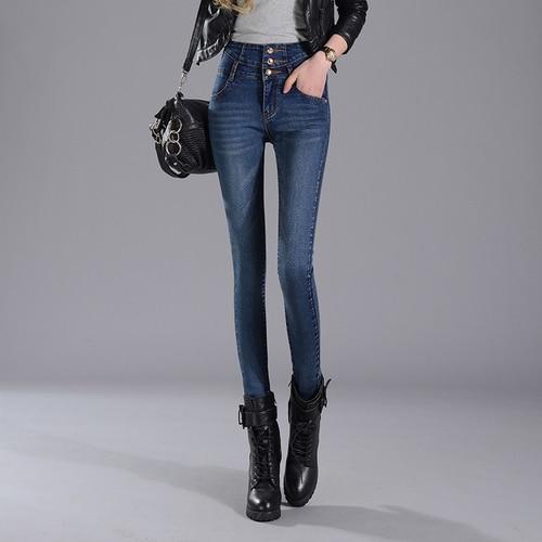 High-Waist Jeans Pencil-Pants Denim Trousers Women Skinny Female New Casual Slim Full-Length