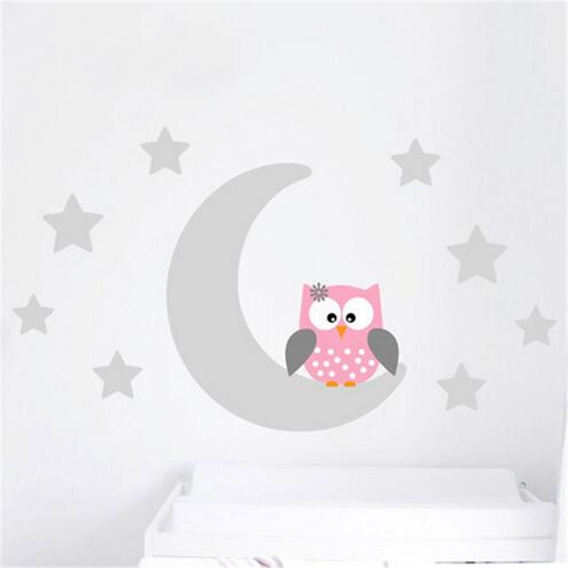 ZN B10 Mond Sterne Good Night Owl Kindergarten Tapete Wandtattoo ...