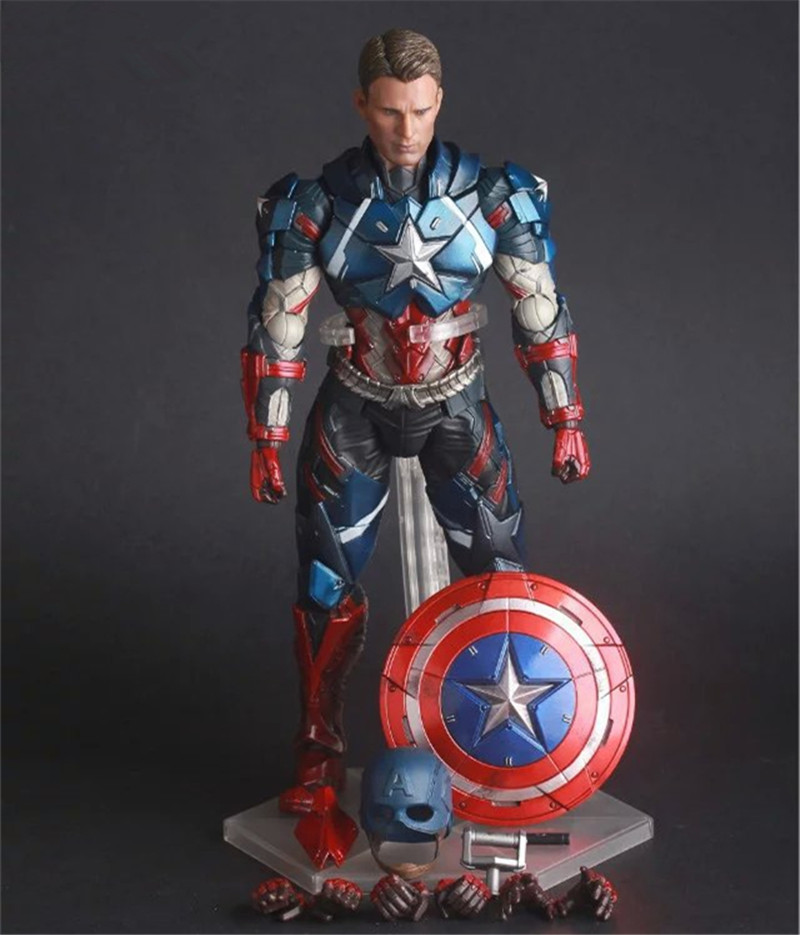Playarts KAI Heros Captain America Juguetes PVC Action Figure Brinquedos Collectible Model Doll Kids Toys 25cm 1 6 scale figure captain america civil war or avengers ii scarlet witch 12 action figure doll collectible model plastic toy