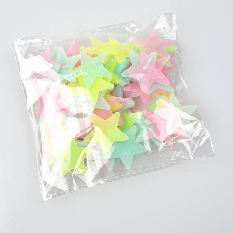 100pcs Night Light White 3D Stars Glow In The Dark Luminous Fluorescent Plastic Wall White Stickers Living Home Kids Room