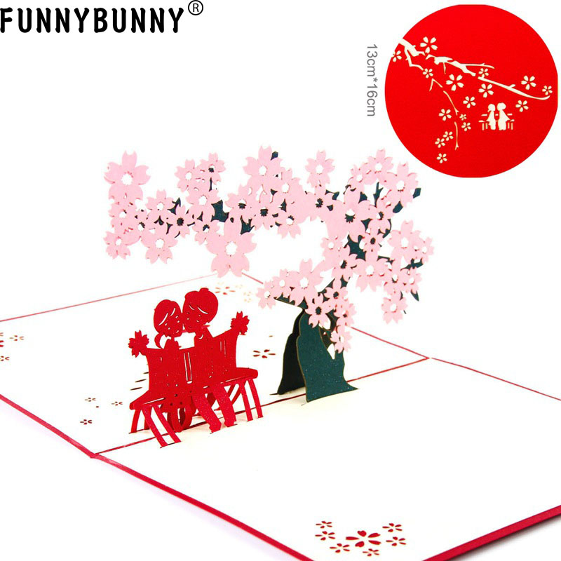 FUNNYBUNNY Cherry Blossom Greeting Cards Mothers Day Anniversary Graduation Birthday Wedding Valentines with Envelope