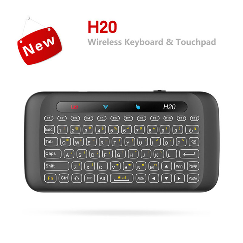 H20 2.4GHz Wireless Mini Keyboard Backlight multi-touch touchpad Air mouse With 280mAh Battery Long Standy for PC Smart TV Box
