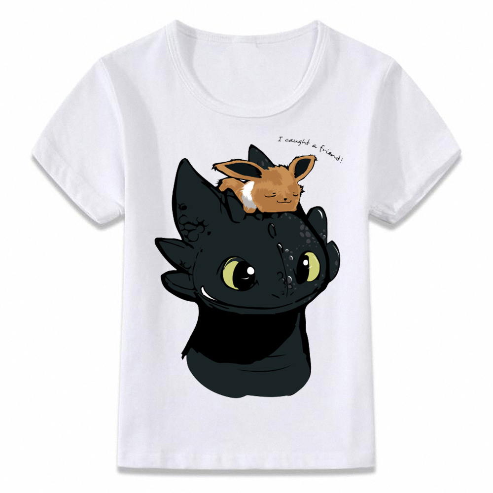 Kids Clothes T Shirt Eevee And Toothless Pokemon Sci-fi Boys And Girls Toddler Shirts Tee Oal169