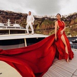 Image 1 - Akşam elbise ile büyük tren vestido longo kırmızı uzun abiye kapalı omuz 2019 robe de soiree yüksek yarık örgün kıyafeti