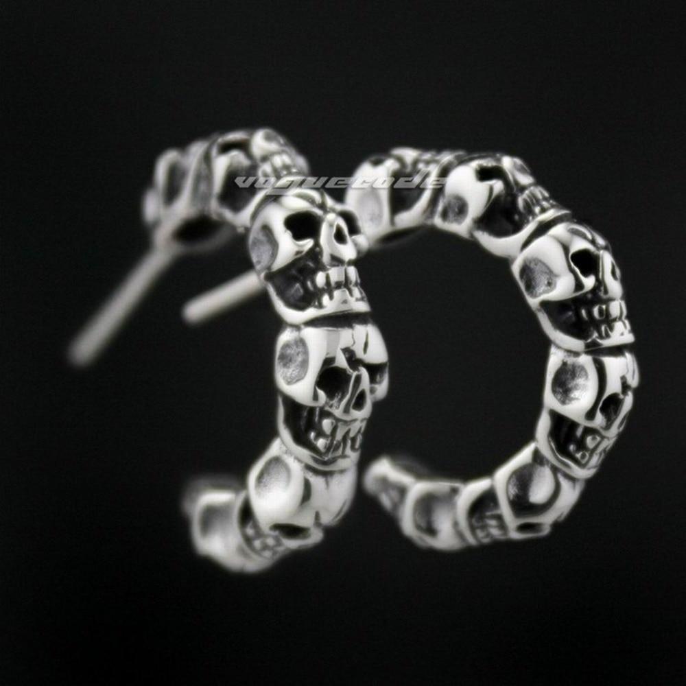 925 Sterling Silver Skull Mens Biker Rocker trendy Earring 8M010