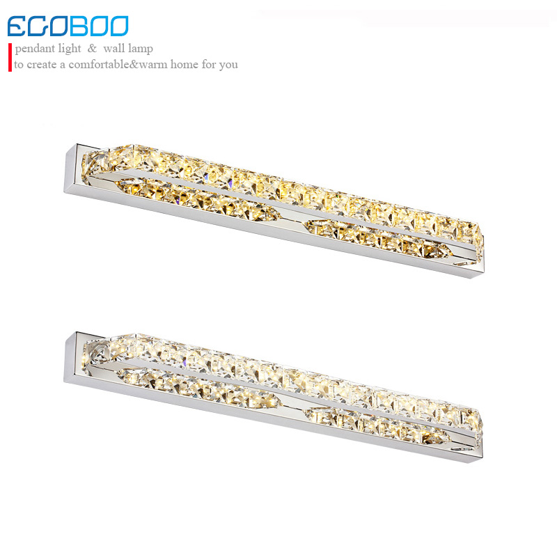 बाथरूम पारदर्शी दर्पण रोशनी दीवार लैंप शैम्पेन और पारदर्शी क्रिस्टल प्रकाश के लिए गर्म बिक्री 18W 68cm एलईडी लैंप 220v