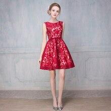 Kurze Abendkleider 2017 Neue Ballkleid-sleeveless Bateau robe de soiree Abendgesellschaft vestido de festa Rot Homecoming Kleid