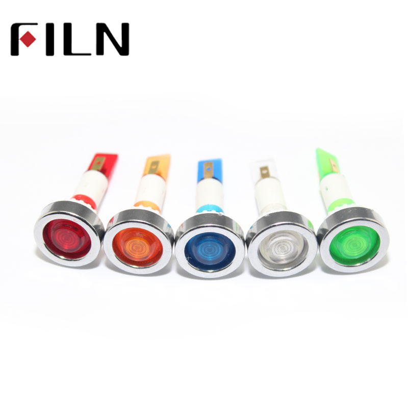 FILN 10mm Diameter Red Green Blue Plastic 12v 220v Pilot Lamp Signal Indicator Light