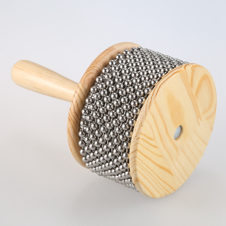 HOT-Wooden Cabasa Percussion Band Student Children Kid Instrument Pop Hand Shaker