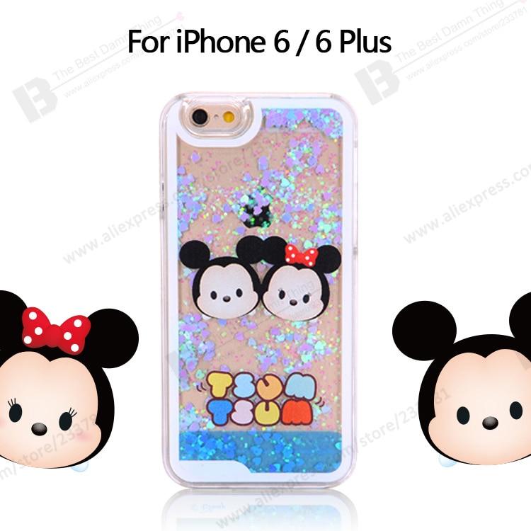 20pcs Lot Tsum Tsum Transparent Hard Skin Glitter Bling Dynamic 3D Quicksand Mobile Phone Cases Cover