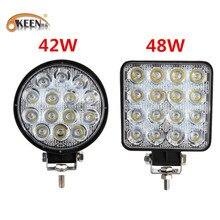 OKEEN foco de luz LED de trabajo cuadrado, 4 pulgadas, 42W, barra de luz LED de 48W para 4x4, todoterreno, ATV, UTV, camión, Tractor, motocicleta, luces antiniebla