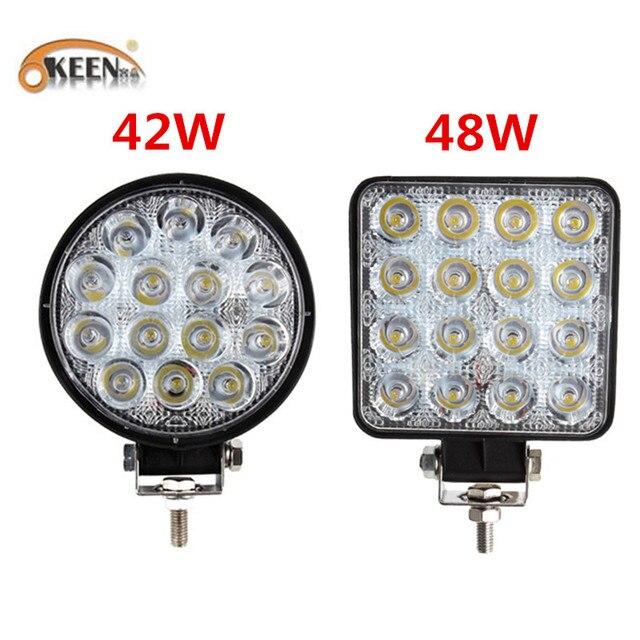 Okeen holofote luz de led quadrado, 4 polegadas, 42w, 48w, barra de luz led para 4x4 offroad atv utv trator para caminhão de motocicleta, luzes para neblina