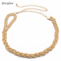 110 cm de Metal trançado diamante cintura cinto cadeia 2018 de ouro da moda cinto de strass vestidos de noite mulher bayan kemer F030