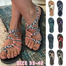 Womens Summer Rope Sandals Open Toe Flip-flops Color Block Peep Casual Fashion Flat Lace Up Beach 2019