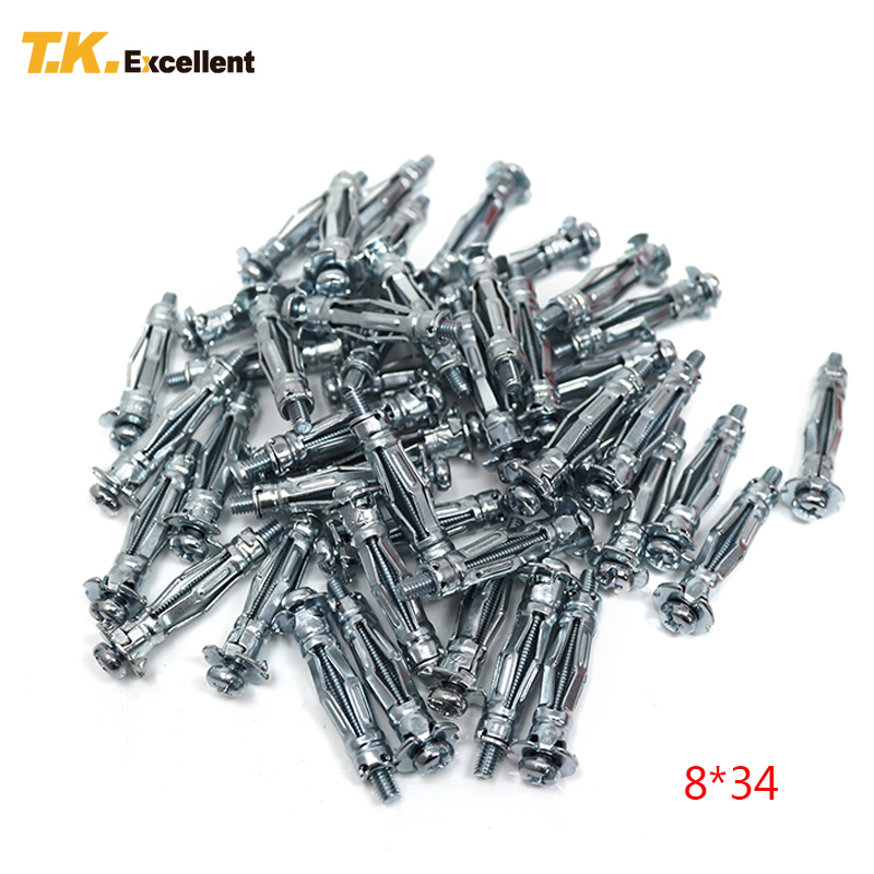 T.K.EXCELLENT Metal Anchor For Plasterboard Carbon Steel Hardware Fastener Hollow Iron Tube Expansion Anchors Q195 8*34 150Pcs m20 200 2pcs expansion turning wedge anchor hardware accessories