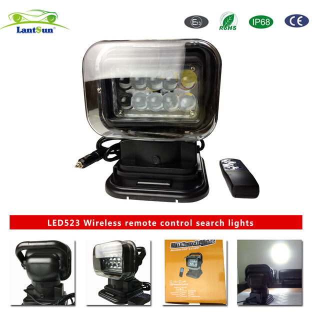 """7"""" 50w 360 degree wireless remote control LED search light for auto products car field lighting leisure vehicles multi-angle"""