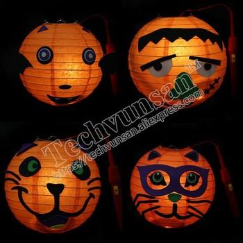 10piece/lot Halloween pumpkin lantern decoration Ghost lantern pumpkin paper lantern DIY ghost lantern spot bar decoration props фото